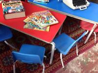 KIDS RED TABLE COLLECTION OF CHAIRS IN RED & BLUE - IDEAL FOR PLAYGROUP