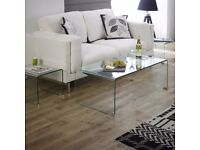 Brand New! Elegant glass coffee table with matching side table - +30% off.