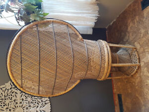 Vintage 1970s rattan Peacock chair in EUC