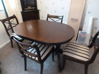 Dining table, chairs and diplay cabinets