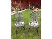 Metal flower out door chairs
