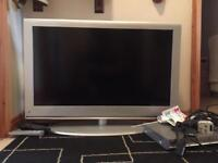 "37"" TV M&S Ful HD. LCD 1080p with DVD player and cables & remotes"