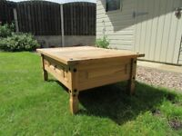 Pine Coffee Table - Featuring stud detail and front drawer. Upcycling Project.