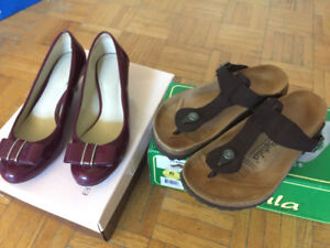 women shoe, Red-size 5, brown-size 6
