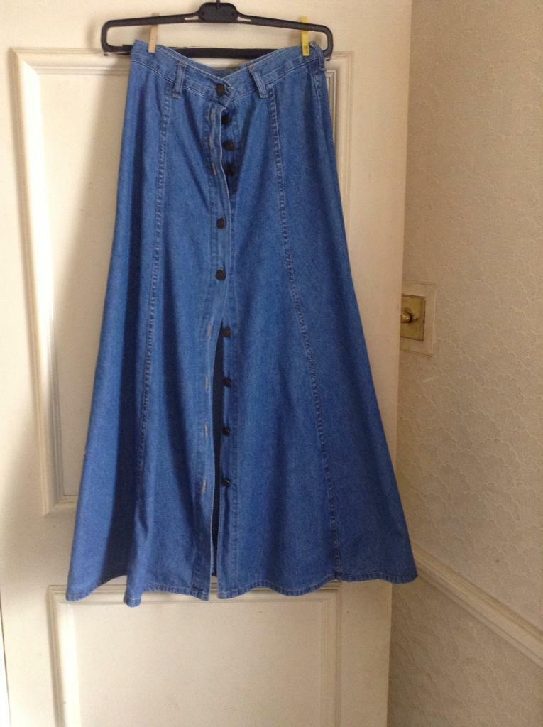 Ladies full length denim Jean skirt size 10