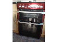 Red indesit electric double fan assisted cooker 60cm