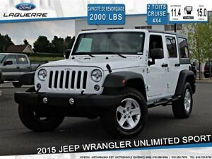 2015 Jeep WRANGLER UNLIMITED SPORT*2 TOITS*6 VITESSES*AWD*CRUISE