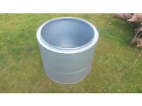 Large galvanised metal garden planter pot