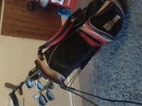 Mixed set of clubs , Golf bag and few balls