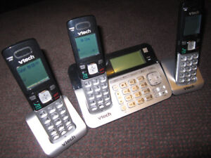 VTECH CS6858-3 Cordless Phone 3 Handset Answering System -- $30.