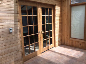 Solid oak French doors, beveled glass, brass handles