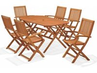 Robert Dyas Top quality Hardwood wooden large 6 seater table/chairs garden furniture set , BNIB