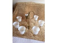 Matching Set of Two Boston Brass Ceiling Chandeliers - 7 Lights and 5 Lights with Glass Shades