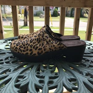 Lands End Leopard Clogs Nurses 11B