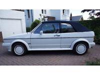 VW Golf GLi Cabriolet Karmann White, Blue mohair soft top, 1984, 112bhp Dx engine, fuel injection.