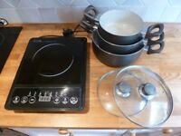 Portable Induction Hob plus three pots
