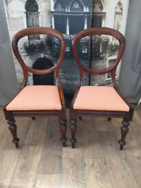 Lovely antique Victorian mahogany baloon back chairs - pair