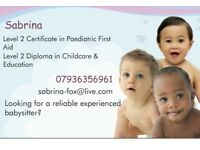 Experienced Qualified Babysitter located in North London Evenings & Weekends Childcare