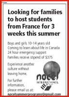 French exchange student looking for host family August 6 - 26