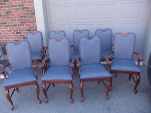 8 dining arm chairs in great cond, frame is solid wood