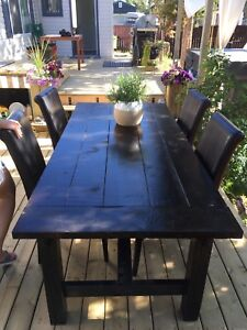 Large Handmade wood table with chairs 800