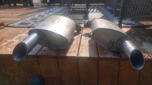Two Mustang stainless steel stock mufflers