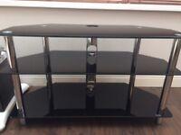 TV stand gloss black glass, chrome legs