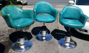 Vintage mid century Salon Pump Chairs LOT of 3