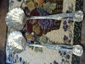 Vintage Pair Of Baroque Style Silver Plate Salad Spoons
