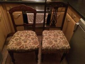 2 Antique chairs with matching pattern design