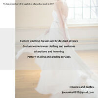 Custom dresses, pattern making, grading, alterations and more
