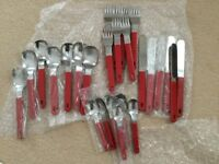 Retro red handled cutlery, mostly new, £5.00