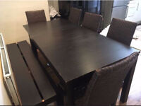 Extendable Dining Table with Chairs and Bench
