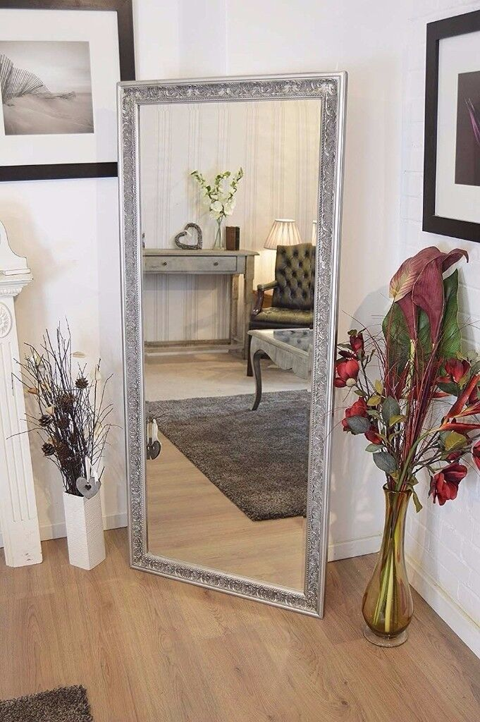 Large Antique Design Full Length Silver Wall Mirror 5ft3 x 2ft5 160cm x 73cm