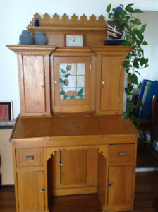 Antique Pine Desk with stained glass