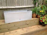 Beautiful silver fibreglass 98cm trough planter RRP £139