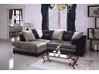 NEW CRUSHED VELVET CORNER SOFA BLACK/SILVER