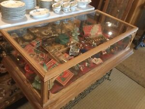 Vintage Christmas ornaments in a display case