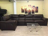 Huge Brown Leather Corner Sofa Bed