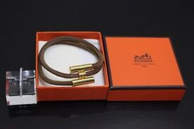 Authentic Hermes Gold and Leather Bracelet
