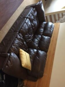 NEW PRICE brown leather chouch and chair set