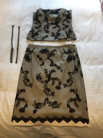Cream and Black Coast Skirt and Bustier Top - Size 14 - with matching Handbag