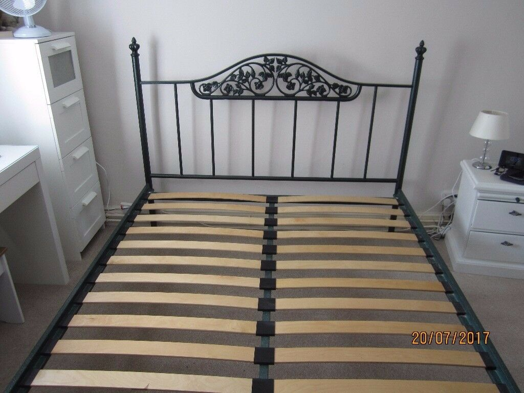 5ft King Size Bed Ornate Tubular Steel Frame In Calne Wiltshire