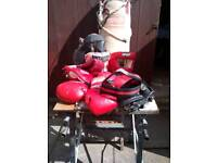 Heavy punch bag ,heavy leather punch ball head protectors,gloves ect