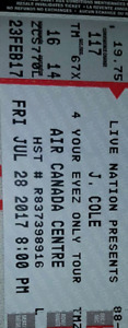 Pair of tickets J cole this Friday selling face value!