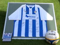 Colchester united framed shirt signed ball and 2010/11 DVD