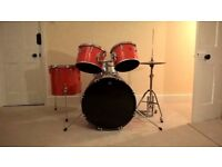 Drum kit in bright red colour