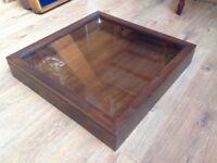 """3 Wooden display cases """"good condition, 22""""x22"""" 3""""depth x 2"""