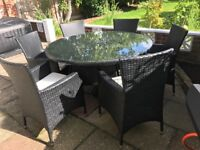 Rattan Round Table Set in black With 6 cushioned chairs and umbrella
