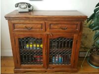 Wooden cabinet cupboard with metal detail